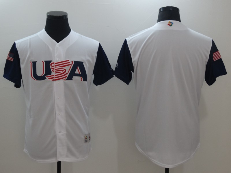 Men's USA Baseball Majestic White Blank 2017 World Baseball Classic Team Jersey