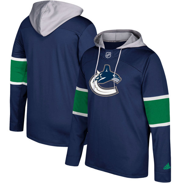 Men's Vancouver Canucks Adidas Navy Silver Jersey Pullover Hoodie