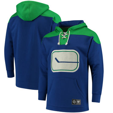 Men's Vancouver Canucks Fanatics Branded Royal Green Breakaway Lace Up Hoodie