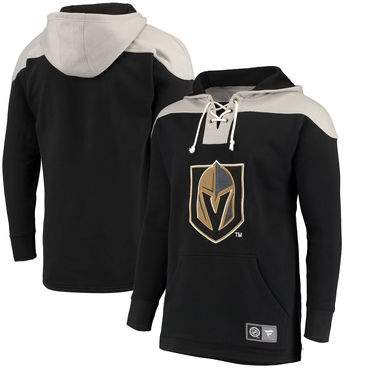 Men's Vegas Golden Knights Fanatics Branded Black Silver Breakaway Lace Up Hoodie