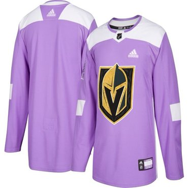 Men's Vegas Golden Knights Purple Adidas Hockey Fights Cancer Custom Practice Jersey