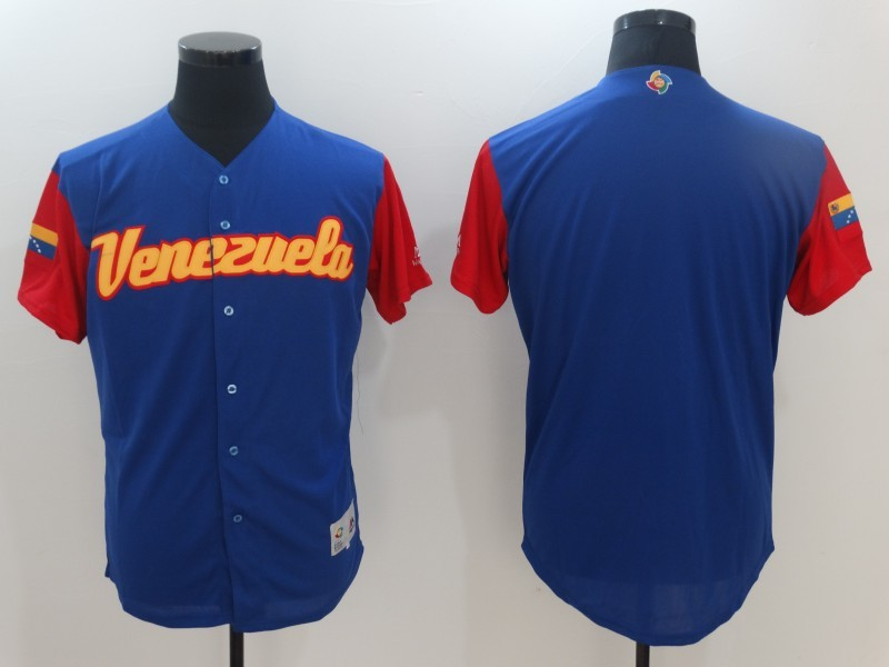 Men's Venezuela Baseball Majestic Blue Blank 2017 World Baseball Classic Team Jersey