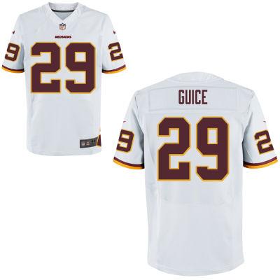 Men's Washington Redskins #29 Guice White Elite Jersey