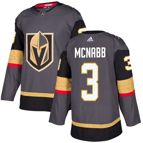Men Adidas Vegas Golden Knights #3 Brayden McNabb Gray NHL Jersey