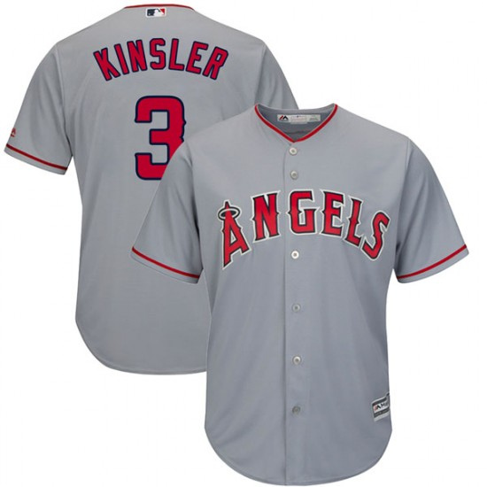 Men Los Angeles Angels #3 Ian Kinsler Gray Cool Base Jersey