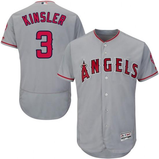 Men Los Angeles Angels #3 Ian Kinsler Gray Flexbase Jersey