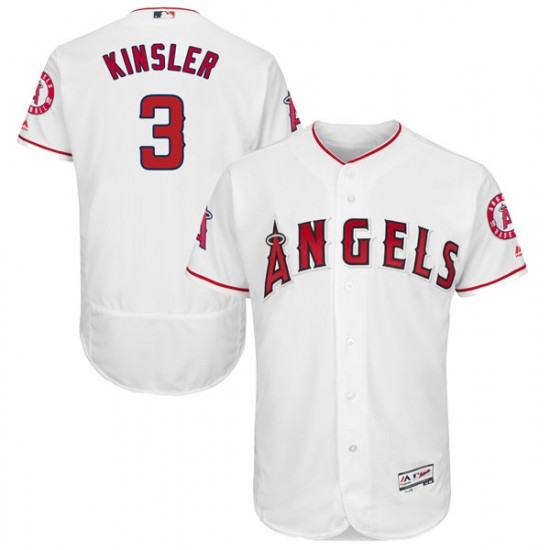 Men Los Angeles Angels #3 Ian Kinsler White Flexbase Home Jersey