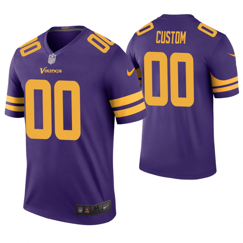 Men Minnesota Vikings Custom Purple Color Rush Legend Jersey