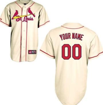 Mens' St. Louis Cardinals Customized Cream Jersey