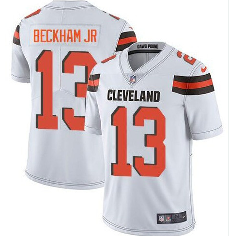 Mens Cleveland Browns #13 Odell Beckham Jr White Vapor Limited Jersey