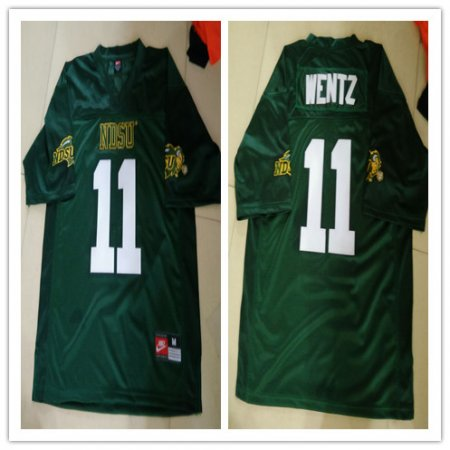 Mens NDSU Bison #11 Carson Wentz Green Football Jersey Custom Any Name And Number Embroidery Logos S-3XL