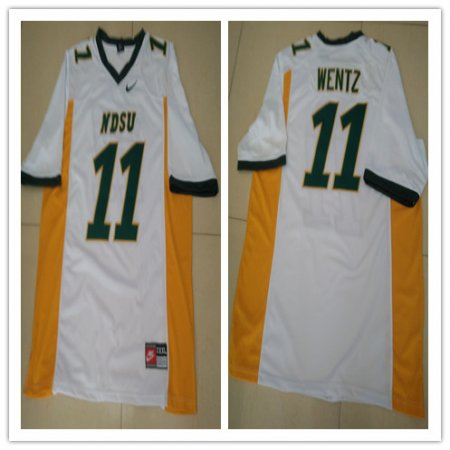 Mens NDSU Bison #11 Carson Wentz White Football Jersey Custom Any Name And Number Embroidery Logos S-3XL