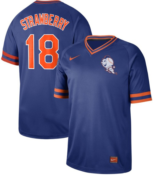 Mets #18 Darryl Strawberry Royal Authentic Cooperstown Collection Stitched Baseball Jersey