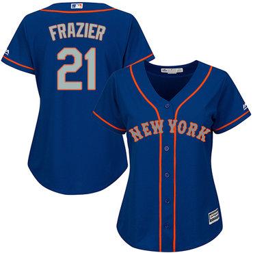 Mets #21 Todd Frazier Blue(Grey NO.) Alternate Women's Stitched MLB Jersey