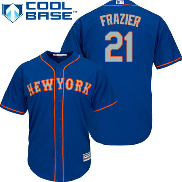 Mets #21 Todd Frazier Blue(Grey NO.) Cool Base Stitched Youth MLB Jersey