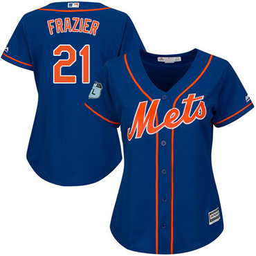 Mets #21 Todd Frazier Blue Alternate Women's Stitched MLB Jersey - 副本