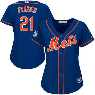 Mets #21 Todd Frazier Blue Alternate Women's Stitched MLB Jersey