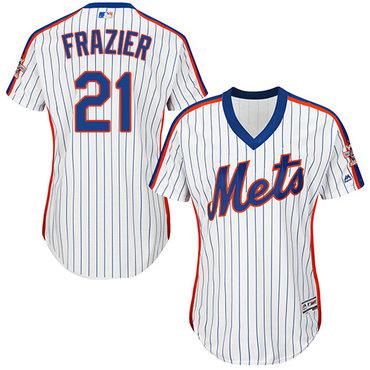 Mets #21 Todd Frazier White(Blue Strip) Alternate Women's Stitched MLB Jersey