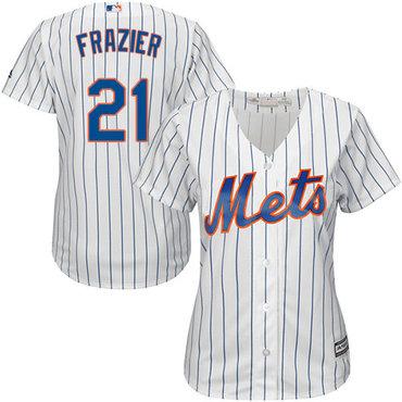 Mets #21 Todd Frazier White(Blue Strip) Home Women's Stitched MLB Jersey