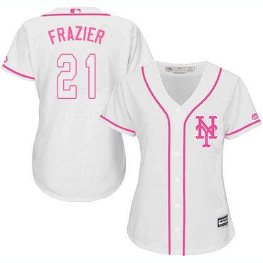 Mets #21 Todd Frazier White Pink Fashion Women's Stitched MLB Jersey