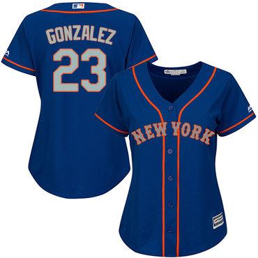 Mets #23 Adrian Gonzalez Blue(Grey NO.) Alternate Women's Stitched MLB Jersey