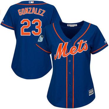 Mets #23 Adrian Gonzalez Blue Alternate Women's Stitched MLB Jersey