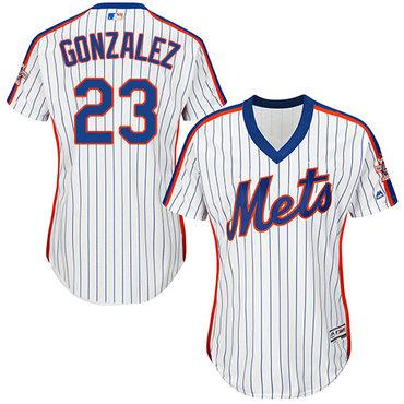 Mets #23 Adrian Gonzalez White(Blue Strip) Alternate Women's Stitched MLB Jersey