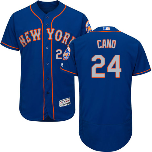 Mets #24 Robinson Cano Blue(Grey NO.) Flexbase Authentic Collection Stitched Baseball Jersey