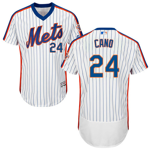 Mets #24 Robinson Cano White(Blue Strip) Flexbase Authentic Collection Alternate Stitched Baseball Jersey