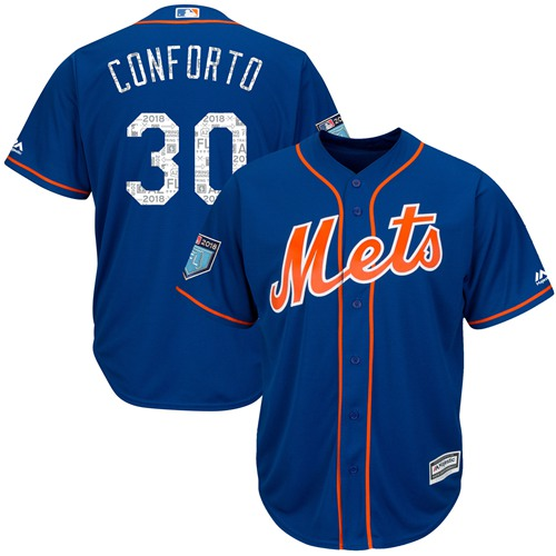 Mets #30 Michael Conforto Blue 2018 Spring Training Cool Base Stitched MLB Jersey