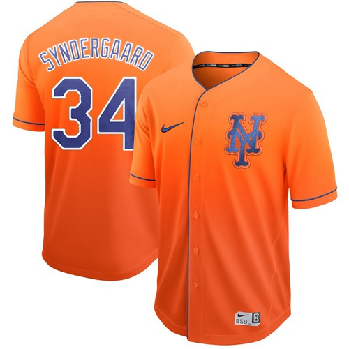 Mets #34 Noah Syndergaard Orange Fade Authentic Stitched Baseball Jersey