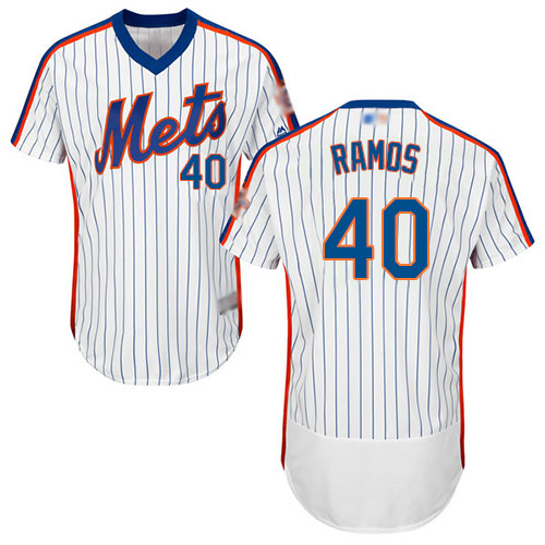 Mets #40 Wilson Ramos White(Blue Strip) Flexbase Authentic Collection Alternate Stitched Baseball Jersey