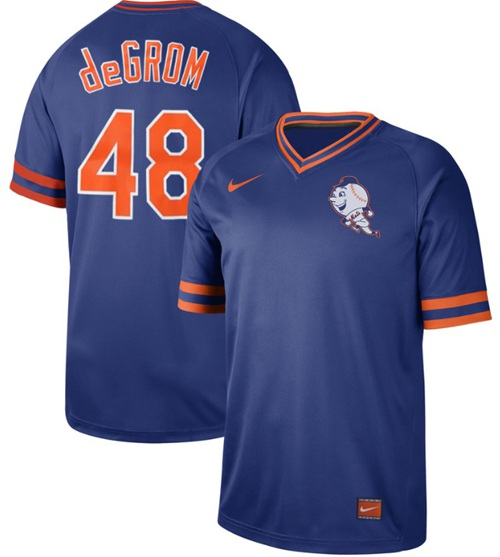 Mets #48 Jacob DeGrom Royal Authentic Cooperstown Collection Stitched Baseball Jersey