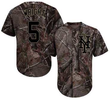 Mets #5 David Wright Camo Realtree Collection Cool Base Stitched Baseball Jersey