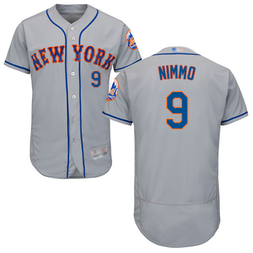 Mets #9 Brandon Nimmo Grey Flexbase Authentic Collection Stitched Baseball Jersey