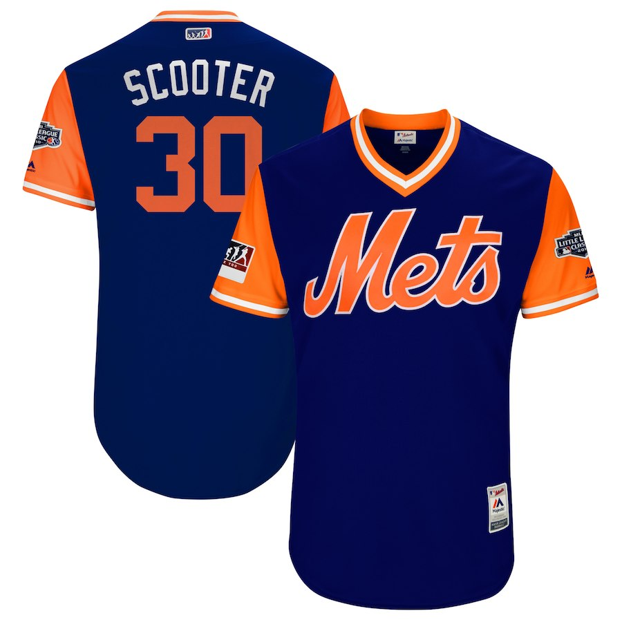 Mets 30 Michael Conforto Scooter Royal 2018 Players' Weekend Authentic Team Jersey