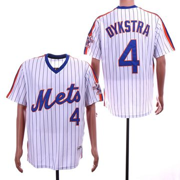 Mets 4 Lenny Dykstra White 25th Anniversary Throwback Jersey