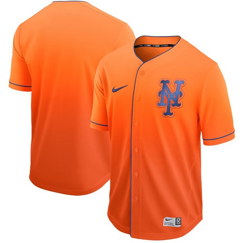 Mets Blank Orange Fade Authentic Stitched Baseball Jersey
