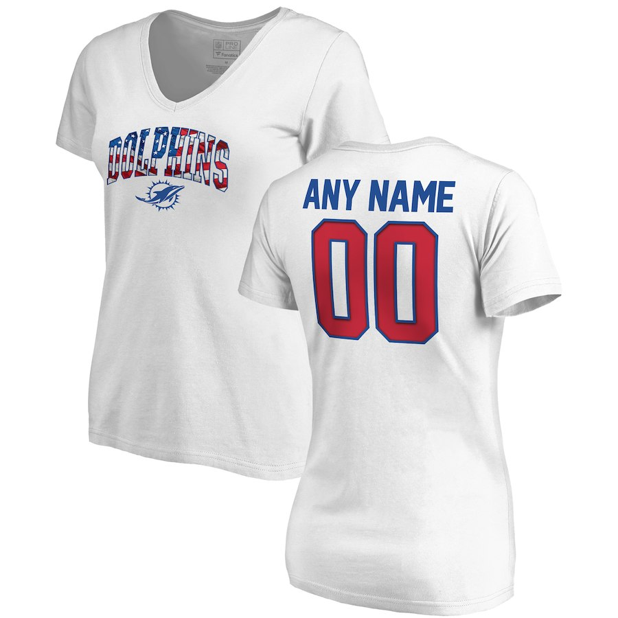 Miami Dolphins NFL Pro Line By Fanatics Branded Women's Any Name & Number Banner Wave V Neck T-Shirt White