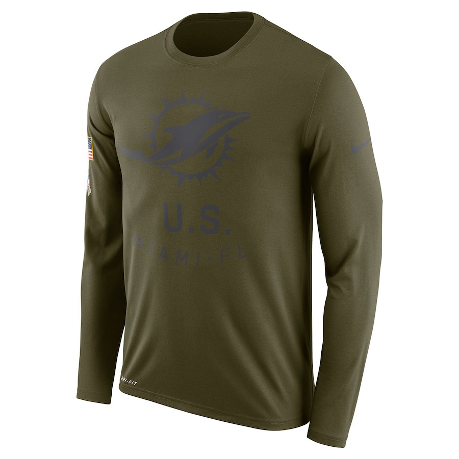 Miami Dolphins Nike Salute To Service Sideline Legend Performance Long Sleeve T-Shirt Olive