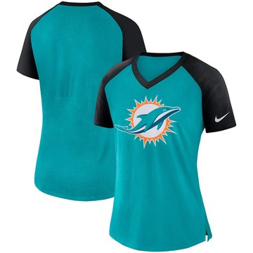Miami Dolphins Nike Women's Top V Neck T-Shirt Aqua Black