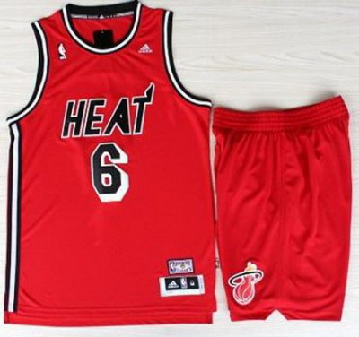Miami Heat 6 LeBron James Red Hardwood Classics Revolution 30 Swingman NBA Suits