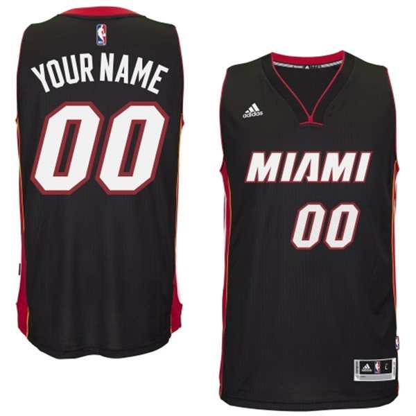Miami Heat Black Men's Customize New Rev 30 Jersey