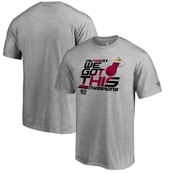 Miami Heat Fanatics Branded 2018 NBA Southeast Division Champions Locker Room T-Shirt Heather Gray