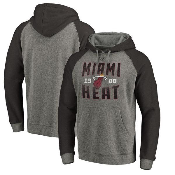 Miami Heat Fanatics Branded Ash Antique Stack Tri Blend Raglan Pullover Hoodie