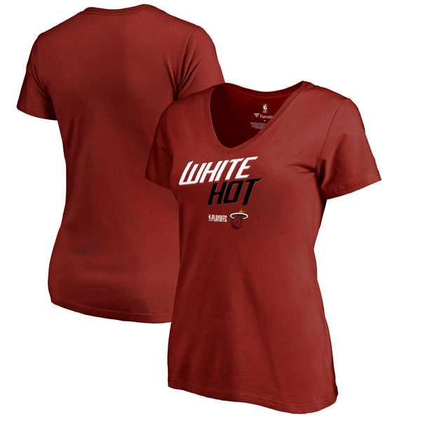 Miami Heat Fanatics Branded Women's 2018 NBA Playoffs Slogan V Neck T-Shirt Cardinal