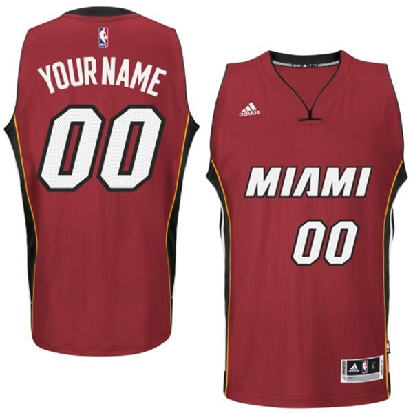 Miami Heat Red Men's Customize New Rev 30 Jersey