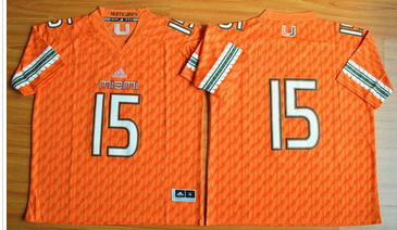 Miami Hurricanes #15 Brad Kaaya Orange Stitched NCAA Jerseys
