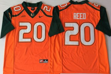 Miami Hurricanes 20 Ed Reed Orange Nike College Football Jersey