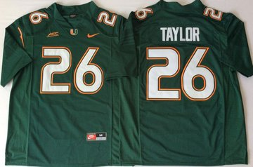 Miami Hurricanes 26 Sean Taylor Green Nike College Football Jersey